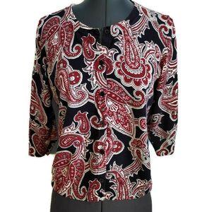 Talbots Cardigan Sweater M P Paisley Thin Button